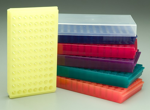 96 WELL FLIPPER RACK ASSORTED COLOURS